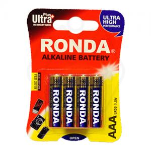 باتری نیم قلمی سایز AAA روندا مدل Ultra Plus Alkaline بسته 4 عددی